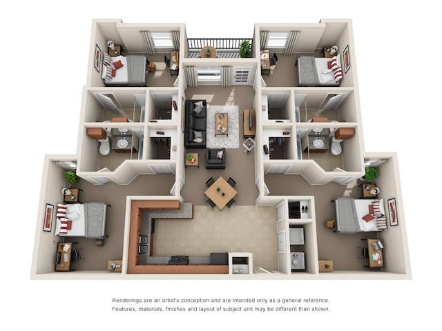 Floor plan of 4 bed, 4 bath student apartment