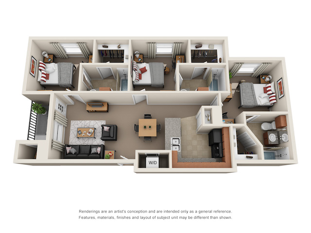 Floor plan of 3 bed, 3 bath student apartment